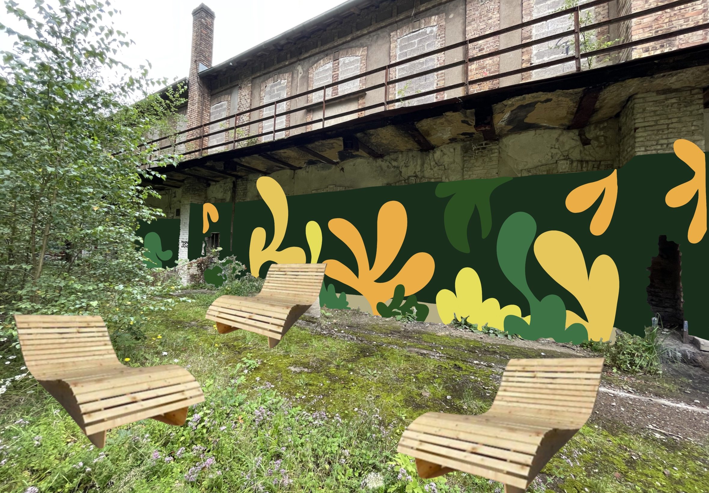 Botanical Mural Paint for Espace Tillebierg in Collaboration with Charly Krau & Wood